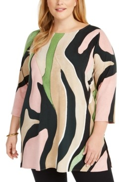 Alfani Plus Size Animal Print Tunic Top, Created for Macy's