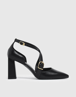 Charles & Keith Buckle Detail Criss Cross Block Heel Court Shoes