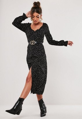 Missguided Petite Black Ditsy Print Milkmaid Midi Dress