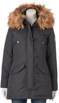 Steve Madden Juniors' Girl Faux-Fur Hooded Midi Jacket