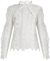 Self-Portrait Cut-out floral-lace ruffled top