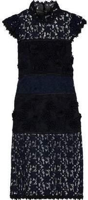 Halston Satin-trimmed Floral-appliqued Guipure Lace Dress