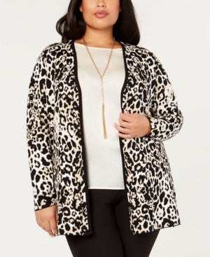 Belldini Black Label Plus Size Leopard-Print Open-Front Jacket
