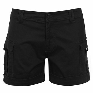 Soul Cal Womens Cargo Shorts Pants Trousers Bottoms Lightweight Zip Black 14 (L)