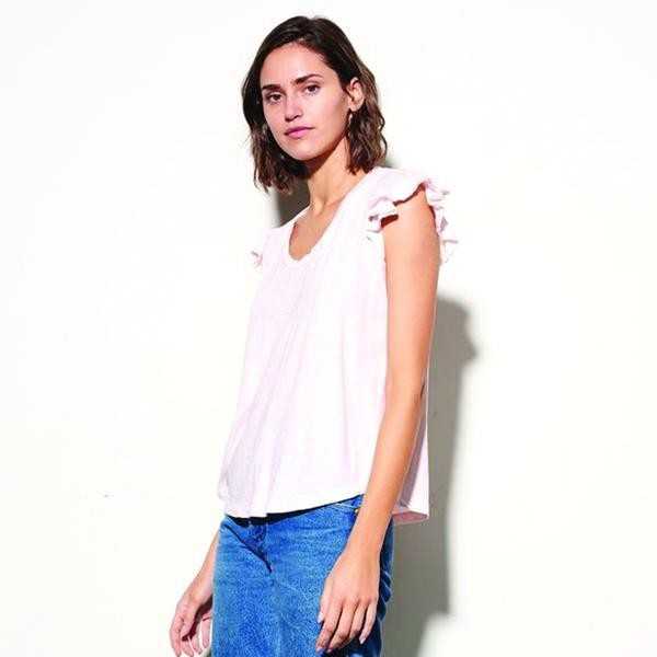 Thumbnail for your product : Sundry Ruffle Sleeve T Shirt Pink - L
