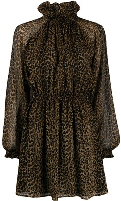 Saint Laurent Leopard-Print Pleated Mini Dress