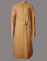 Autograph Pure Cotton Belted Long Sleeve Shirt Dress