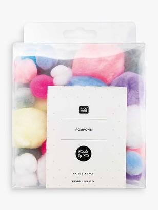 Rico Design Pom Poms, Pack of 48, Pastel