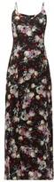 Erdem Aspen Clarence Floral-print Satin Slip Dress - Womens - Black Multi