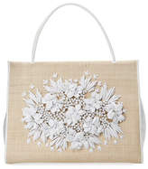 Nancy Gonzalez Flower-Embellished Straw Top-Handle Bag