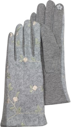 Julia Cocco' Pearl Gray Floral Embroidered Touchscreen Women's Gloves
