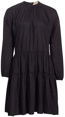 No.21 No. 21 Gathered Long Puff-Sleeve Paneled A-Line Dress