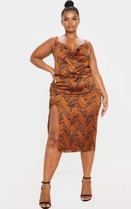 PrettyLittleThing Plus Orange Tiger Print Strappy Satin Cowl Midi Dress