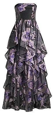 Aidan Mattox Women's Strapless Organza Ruffle Gown