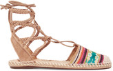 Schutz Kobi lace-up embroidered suede espadrilles