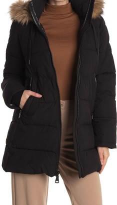 Vince Camuto Short Puffer Jacket With Faux Fur Hood