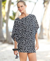 MICHAEL Michael Kors Cover Up, Flutter-Sleeve Boat-Neck Animal-Print Blouson