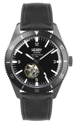 Henry London Mens Skeleton Automatic Watch with Silicone Strap HL42-AS-0332