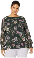 Vince Camuto Specialty Size Plus Size Batwing Floral Chiffon Overlay Blouse (Dark Willow) Women's Blouse