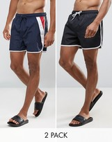 Brave Soul Bravesoul 2 Pack Short Length Swim Shorts in Retro Runner