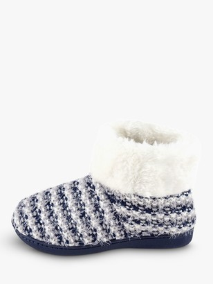 totes Knitted Faux Fur Cuff Boot Slippers, Navy