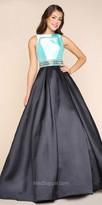 Mac Duggal Keyhole Back Color Blocked Embellished Evening Dress
