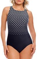 Longitude Diamond Printed Back Cutout One-Piece Swimsuit