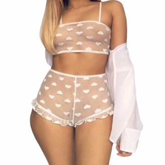 Nensiche Women Sexy Lace Sheer Mesh Lingerie Sets Heart Printed See Through Nightwear Babydoll Crop Tops Bra Panty Underwear (White XL)