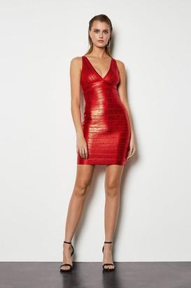 Metallic Bandage Knit Bodycon Dress