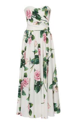 Dolce & Gabbana Strapless Floral-Print Cotton-Poplin Midi Dress