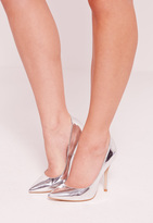 Missguided Mirrored Court Shoes Silver