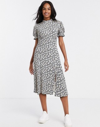 Miss Selfridge puff sleeve midi dress in black floral