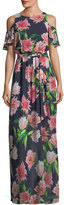 Eliza J Floral-Print Cold-Shoulder Maxi Dress