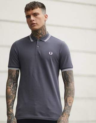 Fred Perry twin tipped polo shirt in grey