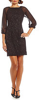 Adrianna Papell Sheer-Sleeve Lace Shift Dress