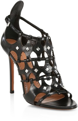 Alaia Embellished Leather Cage Sandals