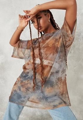 Missguided Rust Acid Wash Oversized Mesh T Shirt