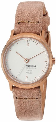 Mondaine Helvetica Wrist Watch Women (MH1.L1111.LG) Swiss Made Rose-Gold Leather Strap Stainless Steel Case