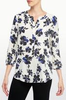 NYDJ Fair Lady Floral Print 3/4 Sleeve Blouse In Petite
