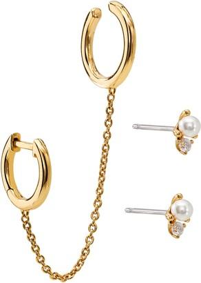 AJOA Huggie Cuff & Imitation Pearl Stud Earrings