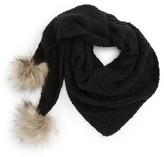 Capelli of New York Women's Faux Fur Pom Triangle Scarf