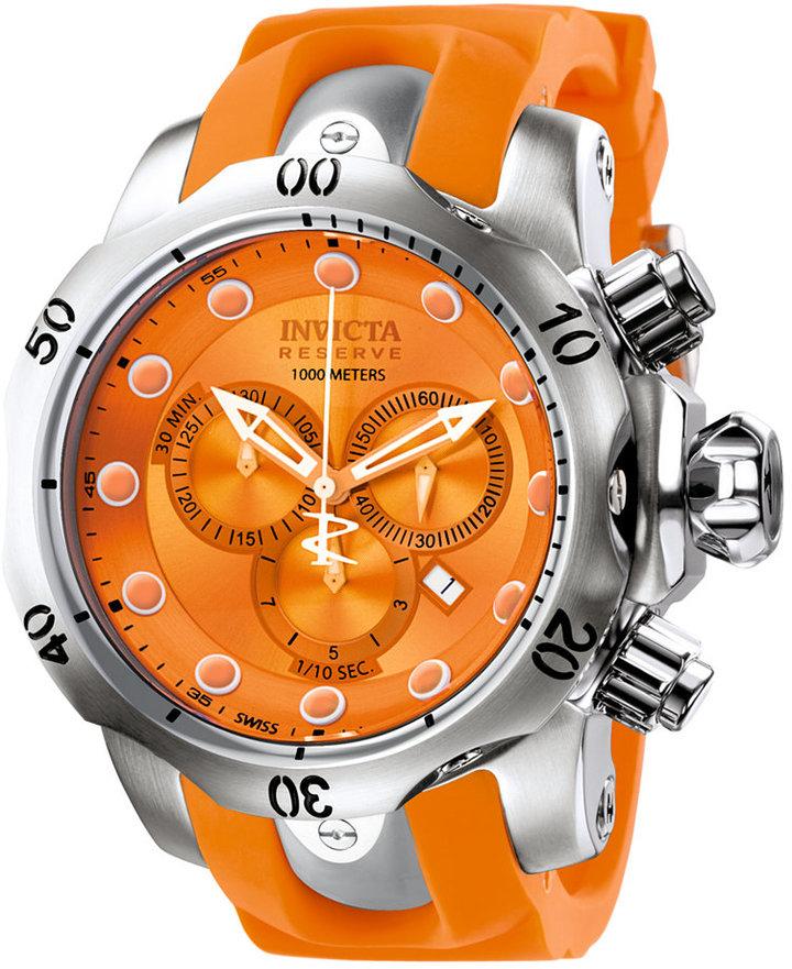 Invicta Watch, Men's Swiss Chronograph Reserve Venom Orange Polyurethane Strap 54mm 1402