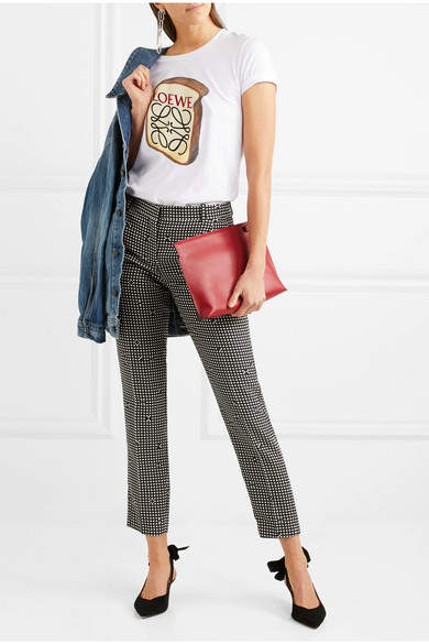 Carven Checked Crepe Slim-leg Pants