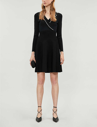 Sandro Embellished stretch-knit dress