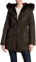 Betsey Johnson Multi-Color Faux Fur Trim Cotton Parka