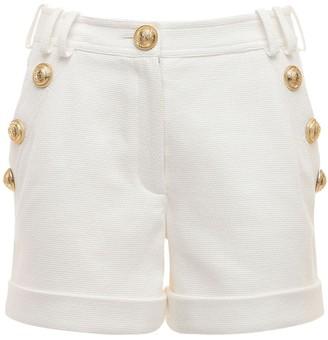 Balmain Cotton Pique Shorts W/ Buttons