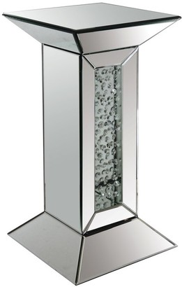 Acme Furniture Nysa Mirrored Pedestal Accent Table