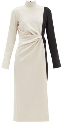 16Arlington Morie Bi-colour Gathered Fluid-crepe Dress - Black Beige