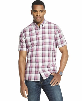 Van Heusen Men's Air Texture Short Sleeve Button Down Shirt