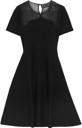 Oscar de la Renta Flared Open Knit-paneled Wool And Silk-blend Dress